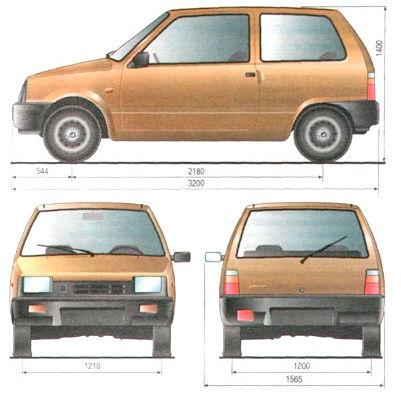 Размеры автомобиля Ока
