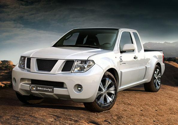 Белый Nissan Navara (фронтьер) спереди